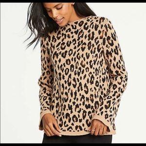 New Ann Taylor tan leopard print mock neck sweater